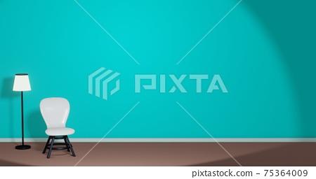 帶白色椅子和落地燈的綠色房間3DCG複製空間時尚海報放鬆 75364009