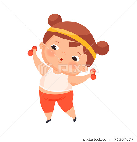 Little Girl with Overweight and Body Fat Doing Physical Exercise with Dumbbells Vector Illustration 75367077
