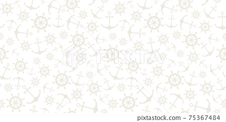 Nautical seamless pattern with ship wheels and anchors 75367484