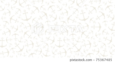 Nautical seamless pattern with ship wheels and anchors 75367485
