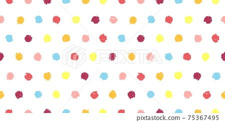 Polka dot seamless pattern with hand painted circles 75367495