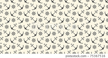 Nautical seamless pattern with ship wheels and anchors 75367516