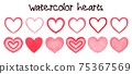 Watercolor hearts banner hand painted with water color ink 75367569