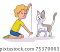 Vector characters boy veterinary and pets 75370003