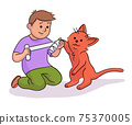 Vector characters boy veterinary and pets 75370005
