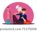 Vector characters man smoke hookah in lounge bar 75370008