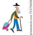 Vector characters elderly man shopping at market 75370009