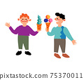 Vector character two boys eat ice cream 75370011
