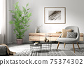 Interior of living room with armchair and coffee tables 3d rendering 75374302
