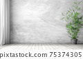 Interior background of room with gray stucco wall and pot with plant 3d rendering 75374305