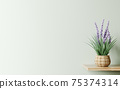 Interior design of living room with wooden shelf.  Wall decor with flower in woven basket plant pot. Green wall with copy space. Modern home background. 3d rendering 75374314