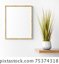 Interior design of living room with wooden shelf.  Wall decor with grass in pot and mock up poster. Wooden frame over white wall with copy space. Modern home decoration. 3d rendering 75374318