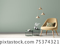 Interior of modern living room with yellow armchair and coffee tables over green wall, home design 3d rendering 75374321