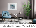 Interior of modern living room with blue armchair and coffee tables 3d rendering 75374322