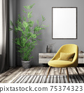 Interior of modern living room with poster and yellow armchair over gray wall 3d rendering 75374323