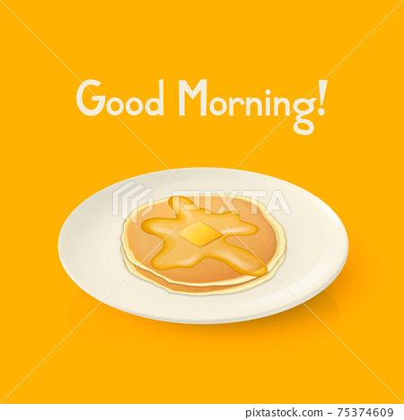 Vector 3d Realistic White Porcelain, Ceramic Plate, Pancakes, Honey, Butter Closeup. Design Template for Mockup. Stock Vector Illustration. Breakfast Concept. Front, Top, Side View 75374609