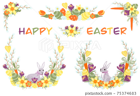 Happy Easter and Spring compositions with bunny, painted eggs and spring flowers 75374683