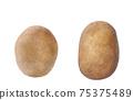 fresh raw potatoes isolated on white background. 75375489
