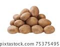 Large pile of organic potatoes isolated on white background. 75375495
