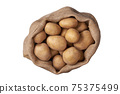 Fresh potatoes in a sack isolated on white background. Top view. 75375499