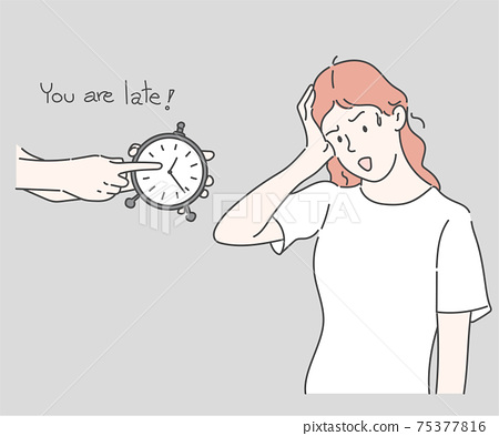 Time management, Deadline concept. Work delay or project deadline. Hand drawn in thin line style, vector illustrations. 75377816