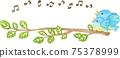 藍鳥親子框架棲息在樹枝上(帶有音符) 75378999