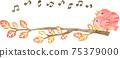 一隻粉紅色的鳥,棲息在秋天的樹的樹枝上的親子框架(帶有音符) 75379000