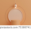 3d render empty cylinder podium on orange background with lamp. Abstract minimal scene for product mock up template. 75380741
