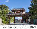 Shureimon in Shuri, Okinawa with the blue sky in the background 75381821