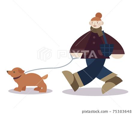 一個女人和一隻狗散步 75383648