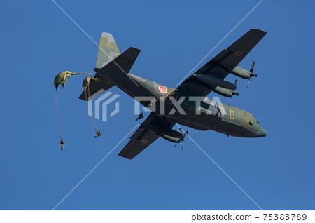 從運輸機跳傘的地面自衛隊(習誌野/千葉) 75383789