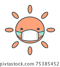 Sun illustration with a mask 75385452