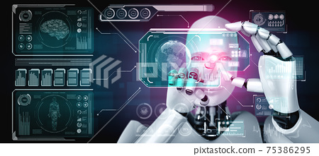 Robot humanoid hold HUD hologram screen in concept of AI thinking brain 75386295