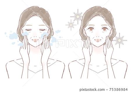 中年婦女清潔皮膚前後 75386984