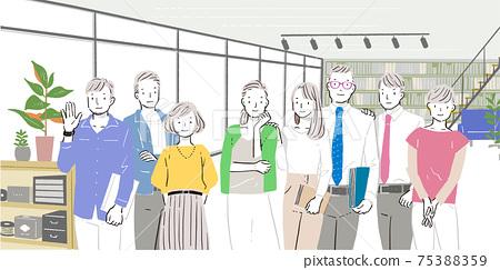男性/女性業務team_office的插圖 75388359