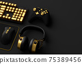 Top view of gamer workspace and gear like mouse, keyboard, joystick, headset 75389456