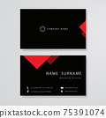 Black and red design business card flat template vector 75391074