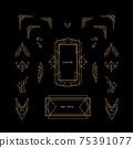 set of art deco linear thin line geometric shape retro design elements with frame corner badge 75391077