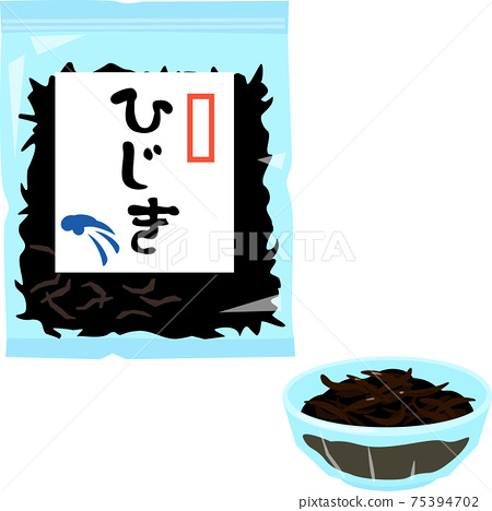 Dried hijiki in a bag and hijiki rehydrated with water 75394702