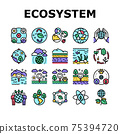 Ecosystem Environment Collection Icons Set Vector 75394720