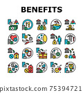 Benefits For Business Collection Icons Set Vector 75394721