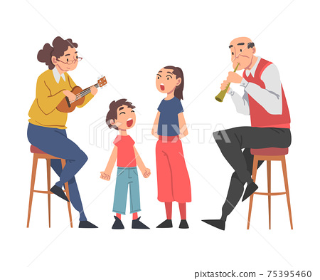 Grandparents Playing Musical Instruments to their Grandchildren and Singing, Grandpa and Grandma Spending Good Time with Grandkids Cartoon Style Vector Illustration 75395460