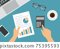 Flat design illustration of female or male hand counting on calculator. Analyzes financial chart on white paper. Laptop with keyboard and mobile phone on green background, vector 75395593