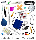 Medical instruments and preparations set. Medicine and health. Isolated objects. White background. 75399696