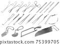 Surgical instruments set. Tweezers, scalpels, Liston s knife, clamp, scissors, Folkman hook, Meyer forceps, needle, Langenbek saw, Satterlee saw, Charriere bone saw, Bergman Engel Plaster saws. Vector 75399705