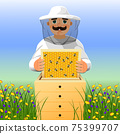 Beekeeper on apiary. A man in a white beekeeper suit works near a beehive. Sunny summer day on a flowering meadow. 75399707