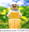 Beekeeper on apiary. A man in a white beekeeper suit works near a beehive. Sunny summer day on a flowering meadow. 75399710