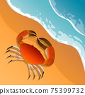 The illustration on a beach theme. Summer vacation by the sea. The crab on the sand. Sea surf . 75399732