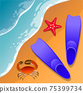 llustrations at the beach theme. Summer vacation by the sea. Crab, starfish and swimming flippers in the sand. Sea surf . 75399734