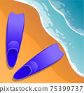 Beach background. Flippers in the sand. Sea shore. Flat style. Cartoon. Vector . 75399737